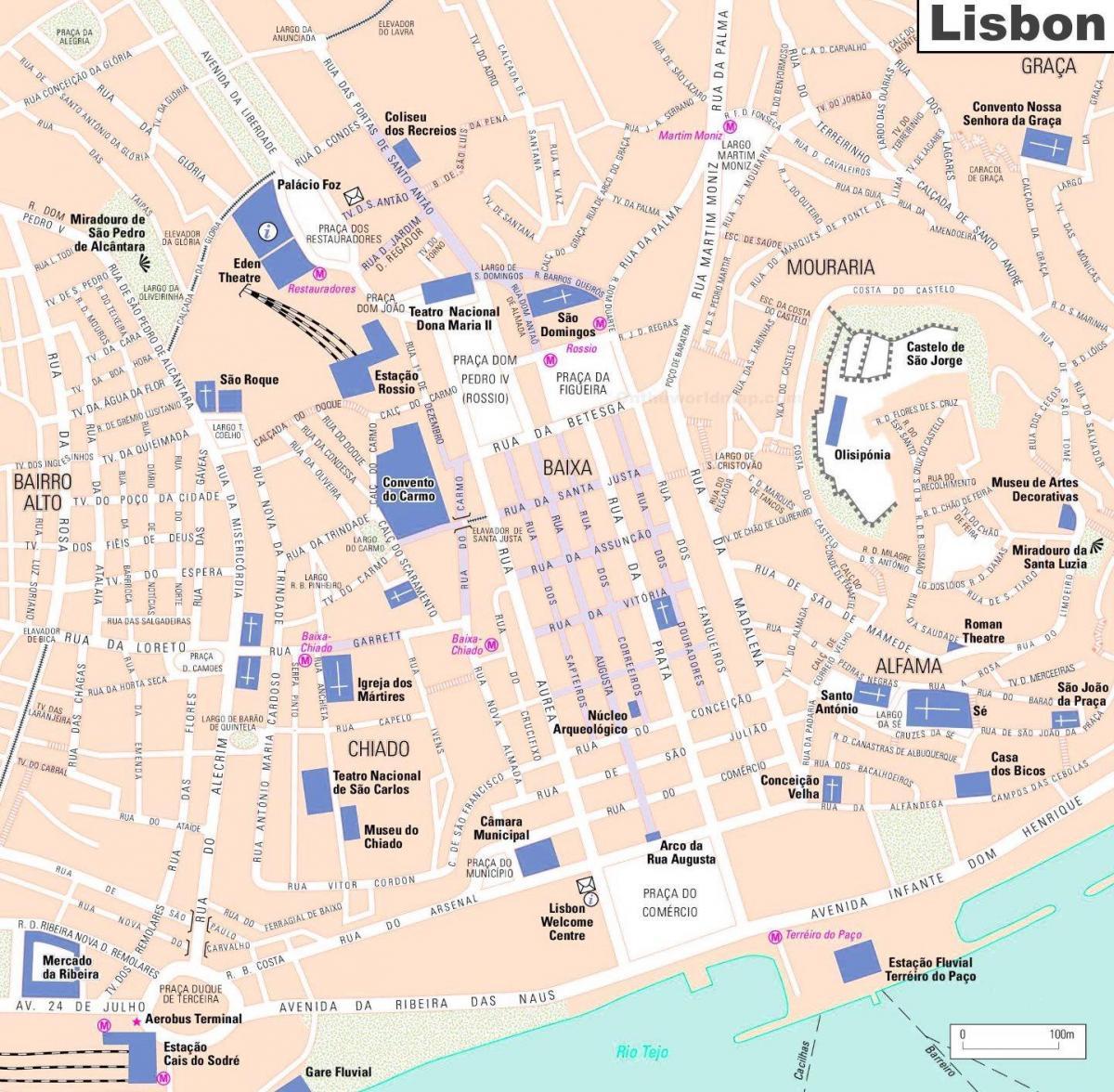 Baixa Lissabon-Karte - Map-baixa in Lissabon (Portugal) on